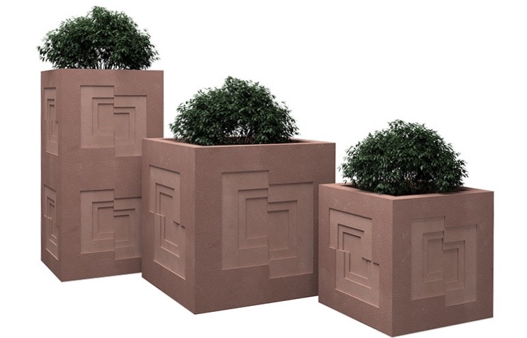 Anoma Natural Stone Cuboid Planters Shift